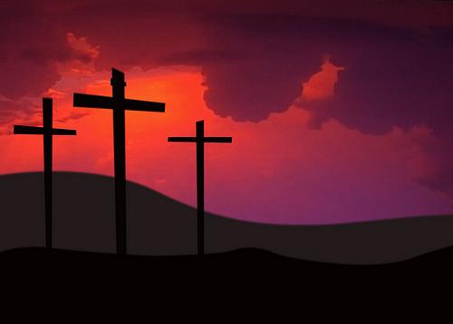 Three Crosses Against Sky